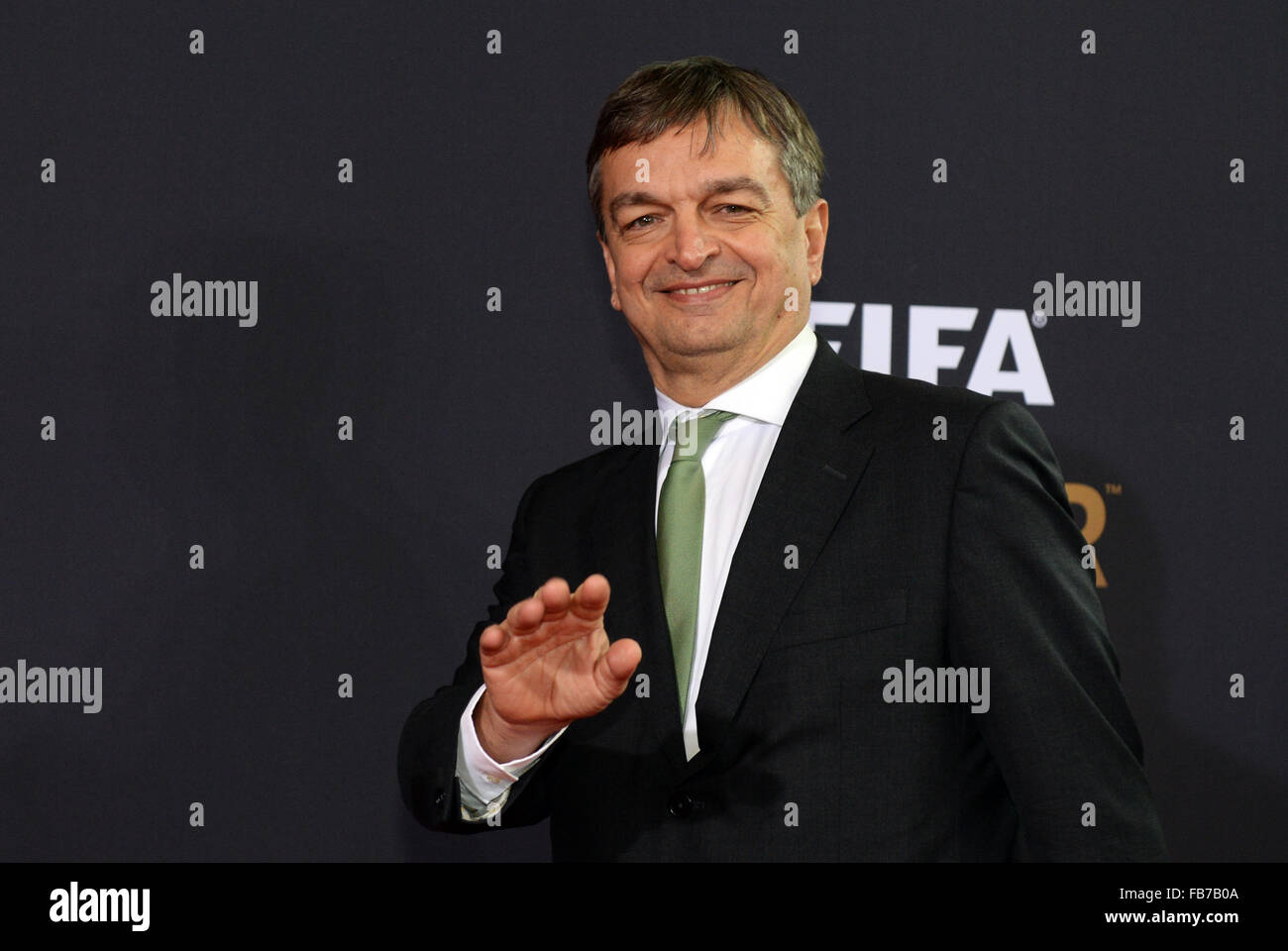 Zurich, Switzerland. 11th Jan, 2016. Jerome Champagne arrives for the FIFA Ballon d'Or Gala 2015 held at the Kongresshaus Stock Photo