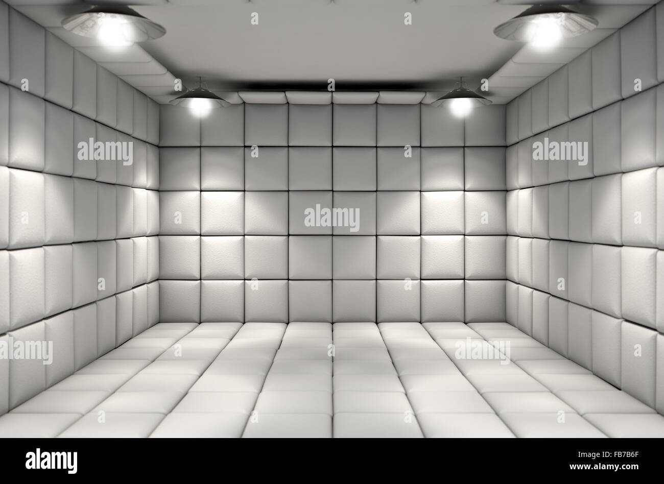 A white padded cell in a mental hospital Stock Photo
