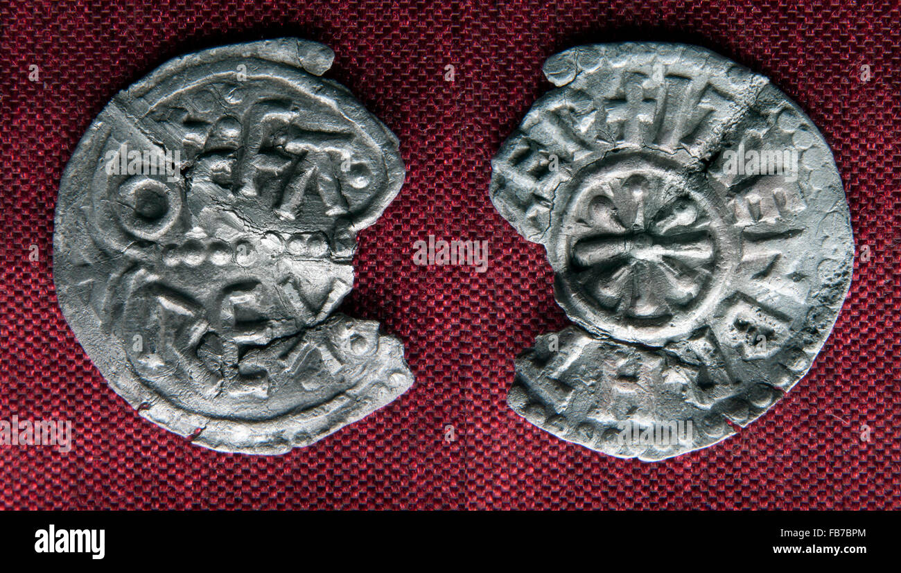 Unique die type of silver Saxon coin, a penny struck by Archbishop Jaenberht, Canterbury mint. AD 780-792. - Stock Image