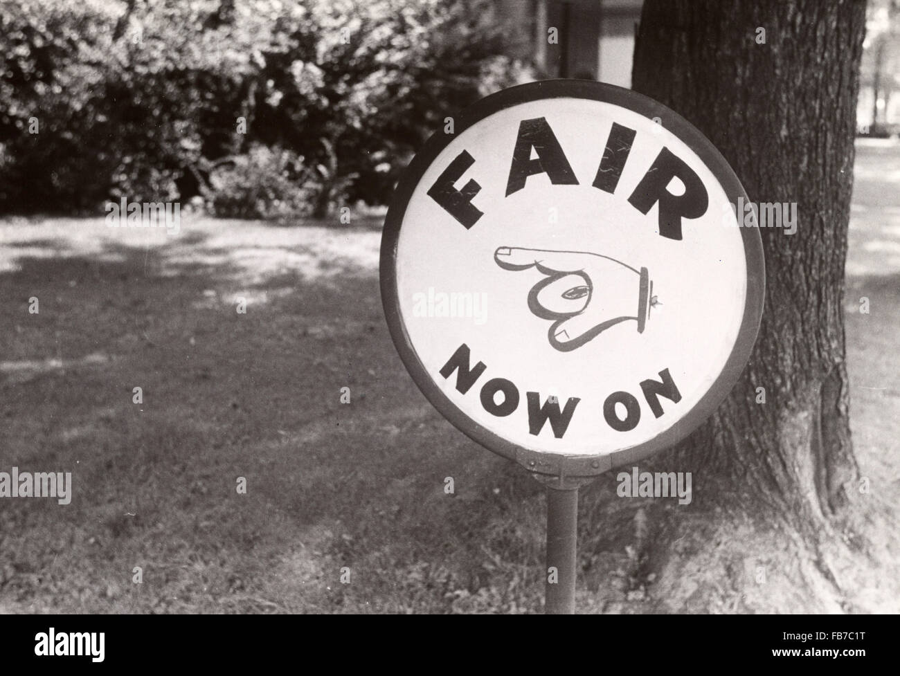 Sign advertising county fair, central Ohio, America, 1930's - Stock Image