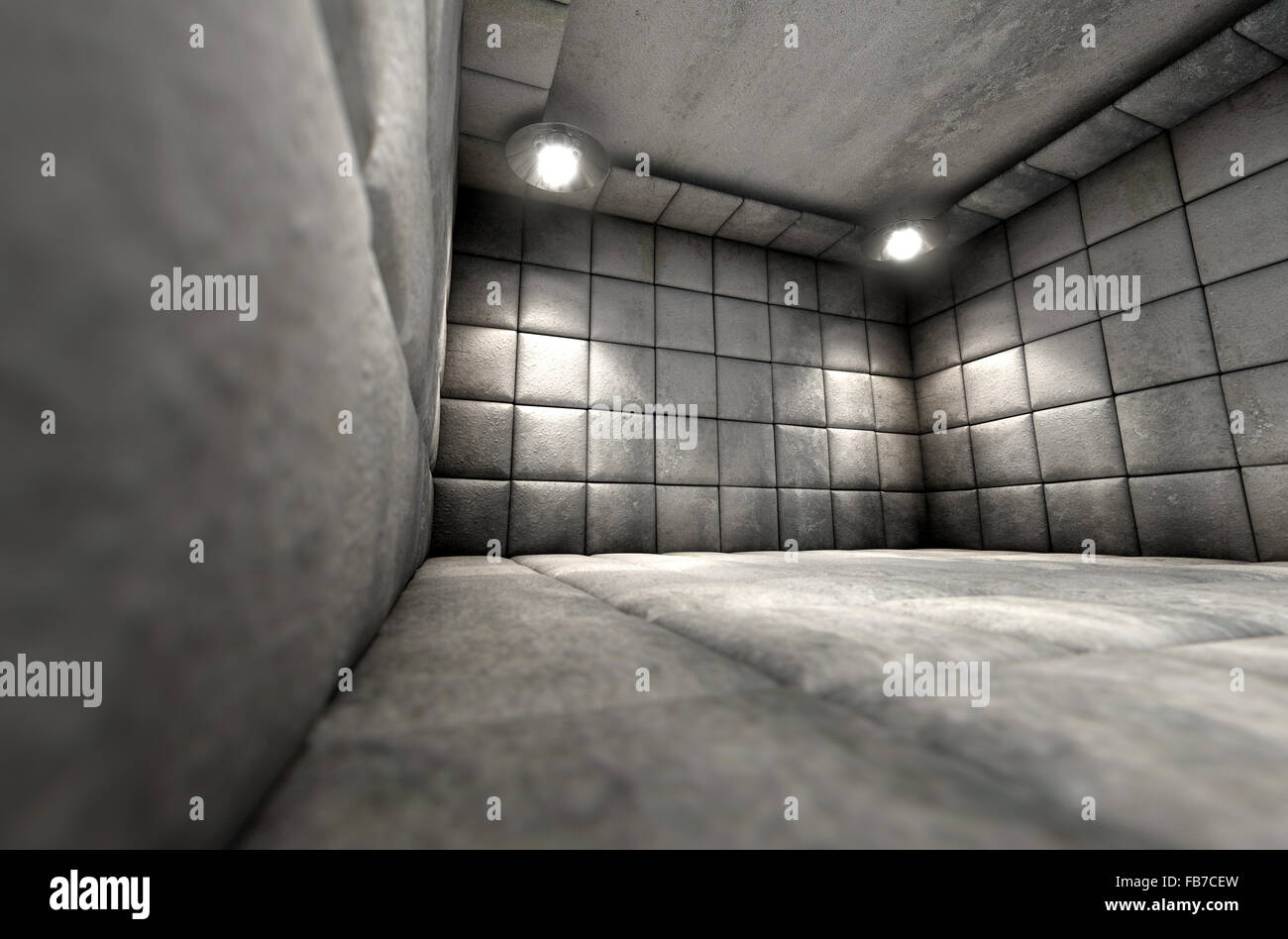 A dirty white padded cell in a mental hospital Stock Photo