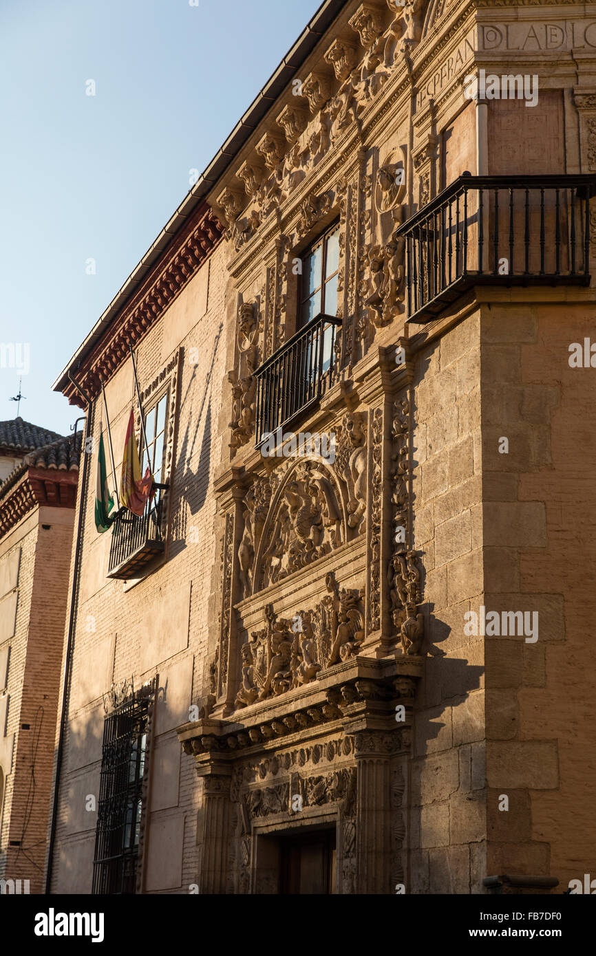 Front of a splendid building in Granada Spain previously owned by a wealthy family and with ornate architecture - Stock Image