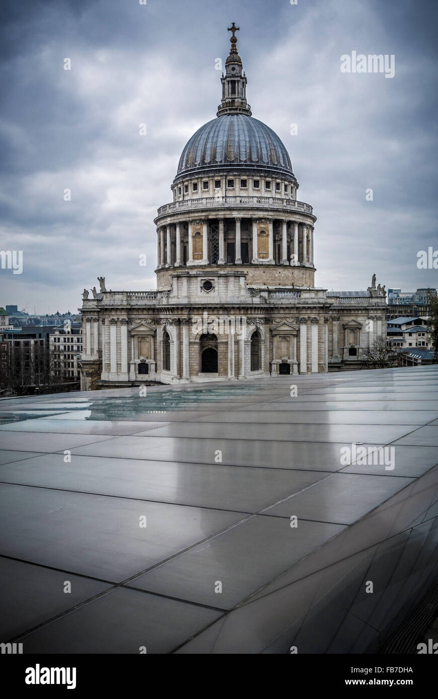 St Paul's Cathedral viewed from One New Change, London, UK. - Stock Image