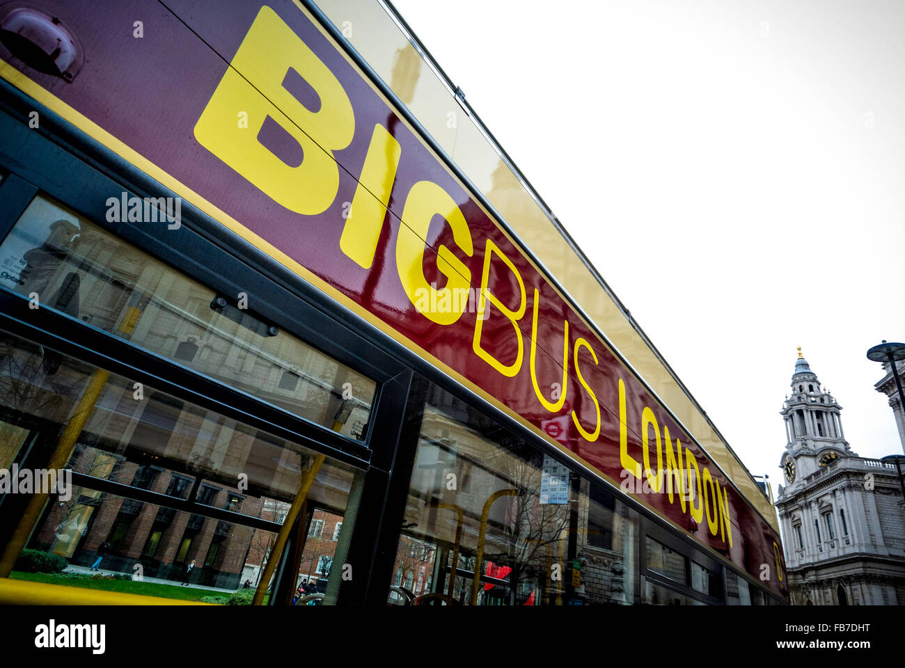 BIG BUS LONDON sign on side of tourist sightseeing bus, London, UK. - Stock Image