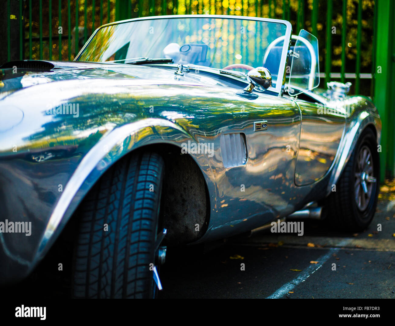 aluminum body convertible AC Cobra front drivers side view - Stock Image