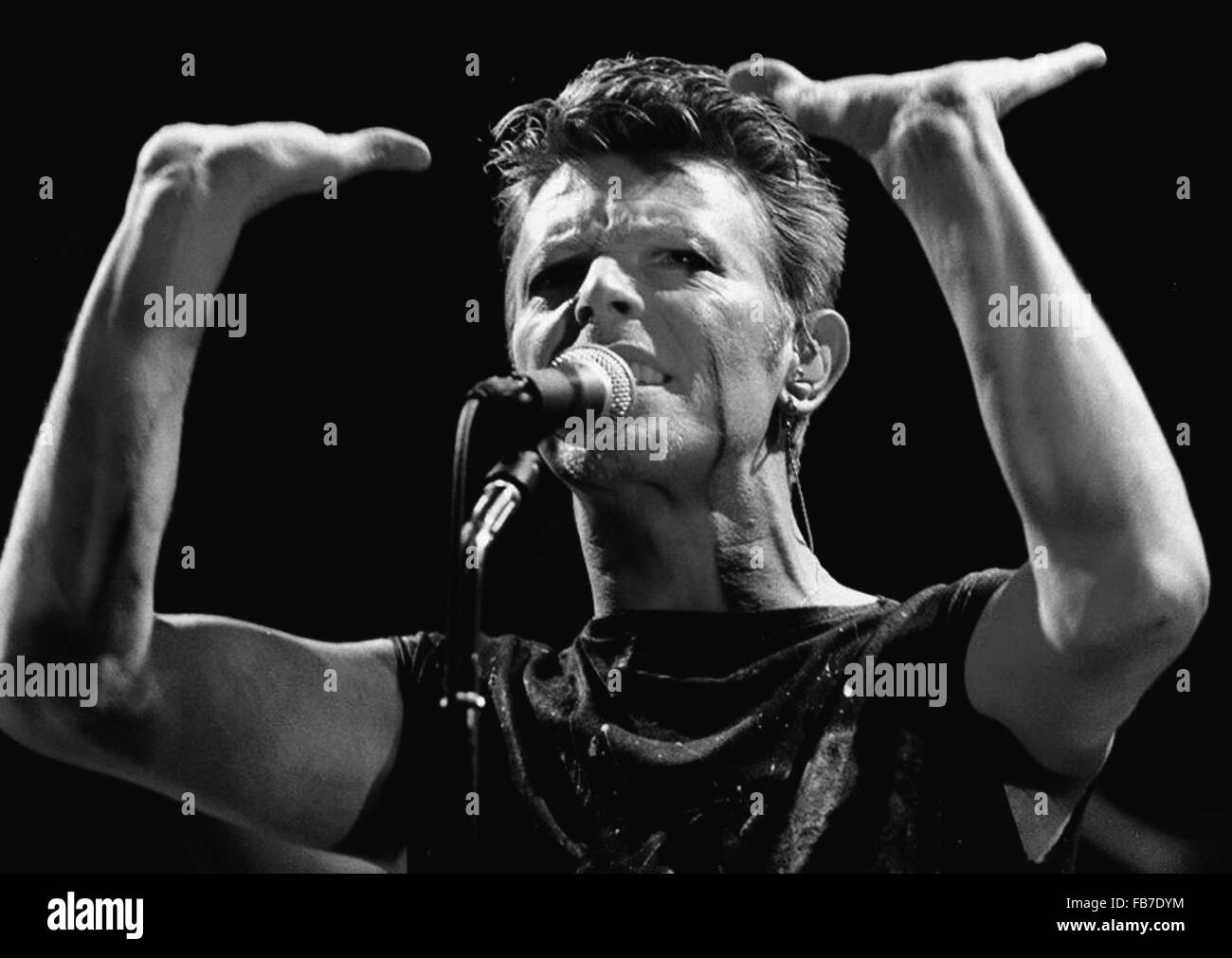 FILE - A file picture shows David Bowie as he performs at Festhalle in Frankfurt am Main, Germany, 31 January 1996. Stock Photo