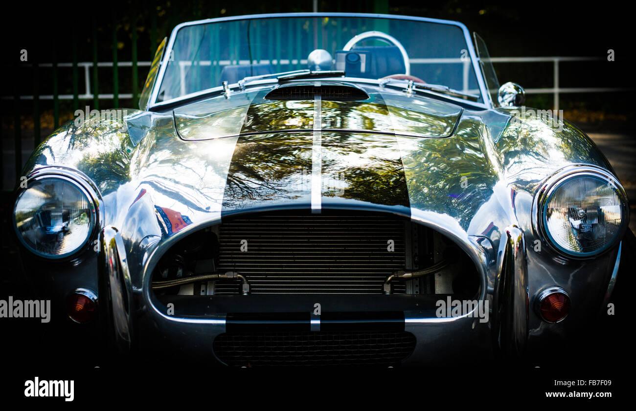 aluminum body convertible AC Cobra front view - Stock Image
