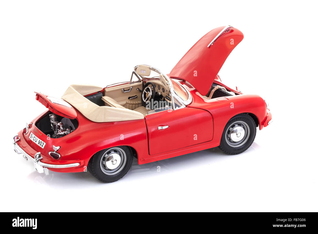 Scale Model Porsche 356 Speedster on a white background - Stock Image
