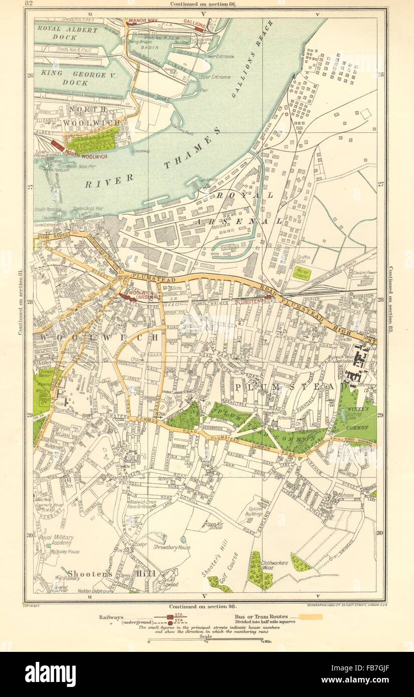 LONDON: North Woolwich,Plumstead,Gallions,Manor Way,Woolwich Arsenal, 1923 map Stock Photo