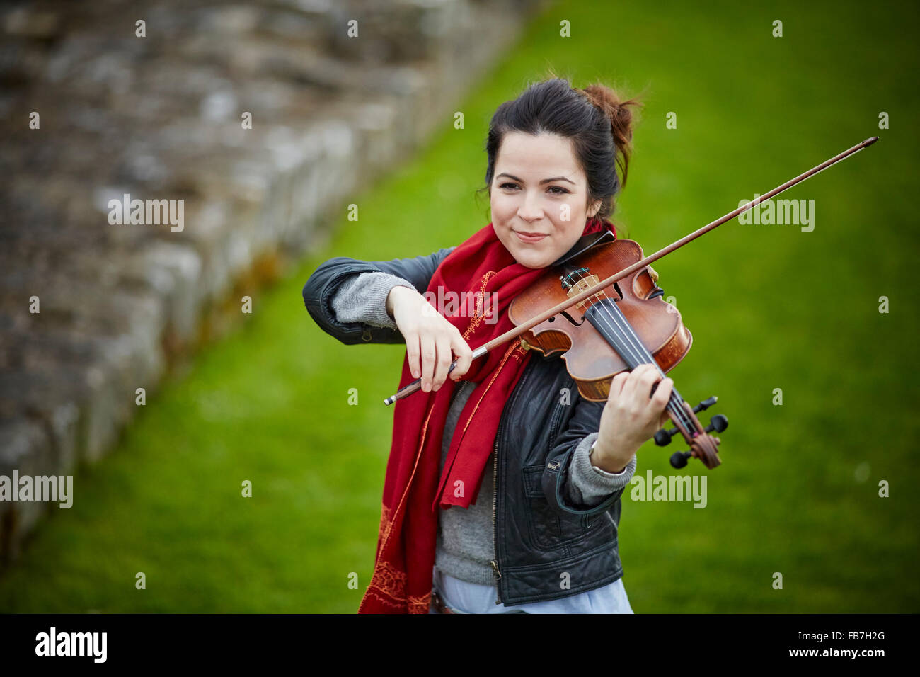 BBC Music day 'for the love of music'  Hadrian's Wall of Sound 2015 at Banks East Turret at the wall violinist  Stock Photo