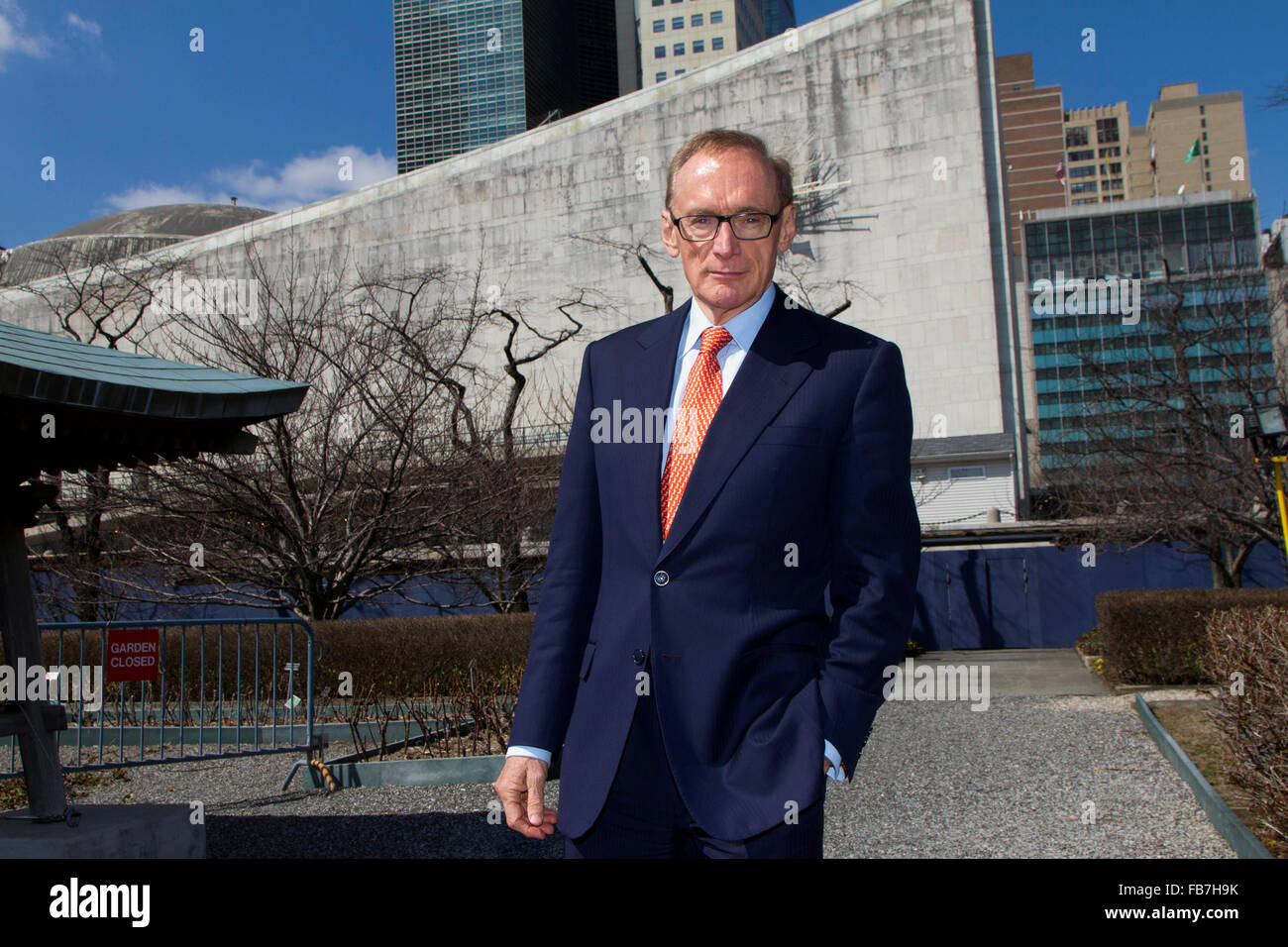 Australian Minister of Foreign Affairs Senator Bob Carr at UN Headquarters in New York. - photo by Trevor Collens - Stock Image