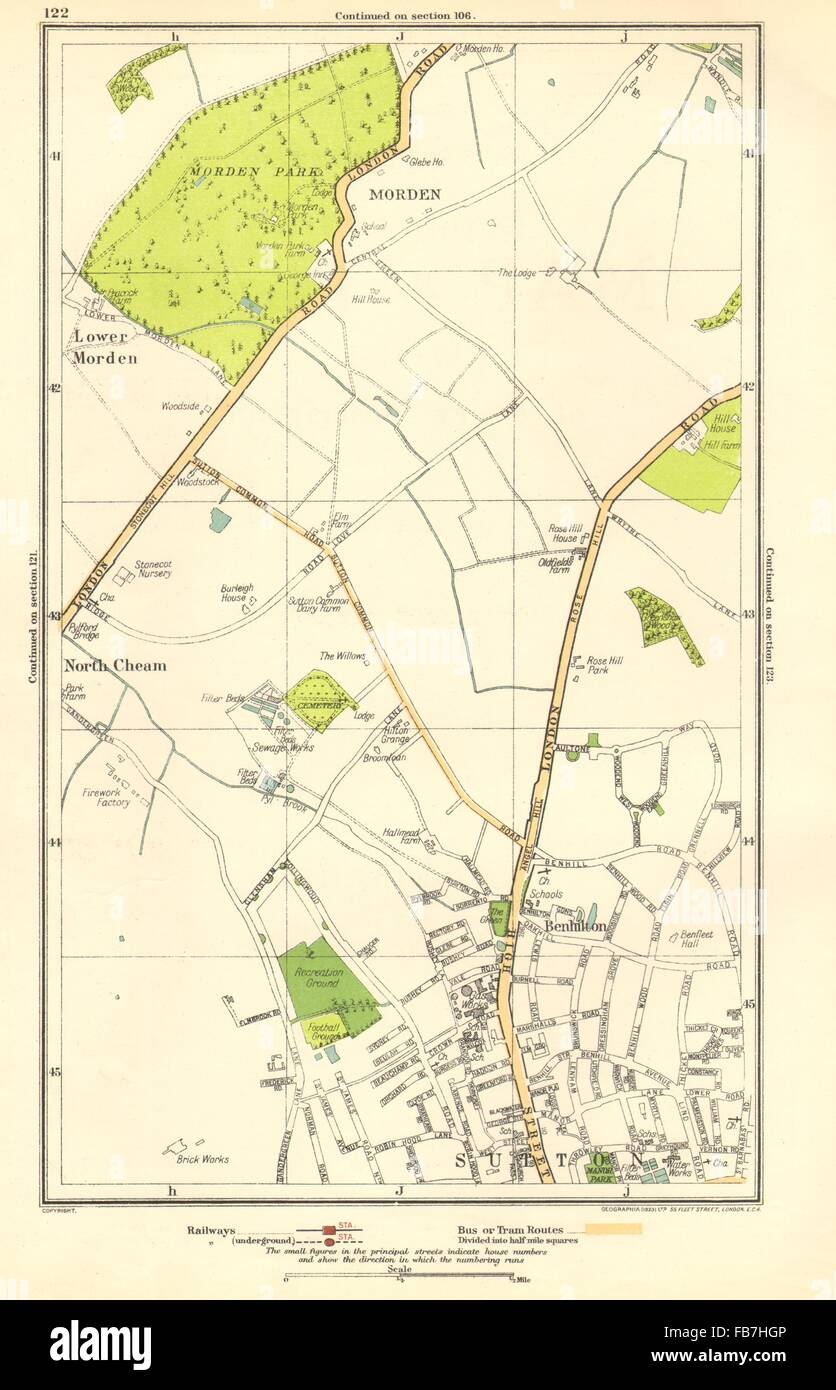 SUTTON: Benhilton, North/Lower Morden Park, Cheam, St Helier; Surrey, 1923 map - Stock Image