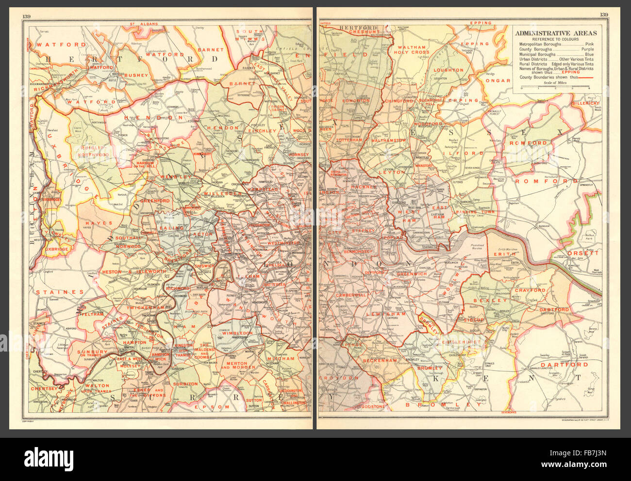 London Map Districts.London Administrative Areas Boroughs Districts 1923 Vintage Map