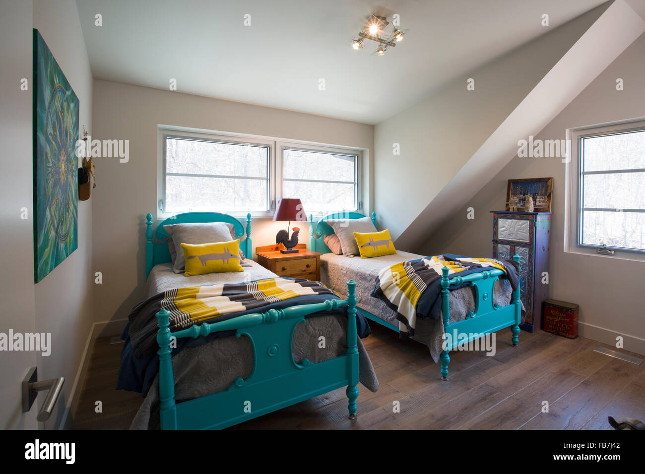 bedroom with two beds - Stock Image