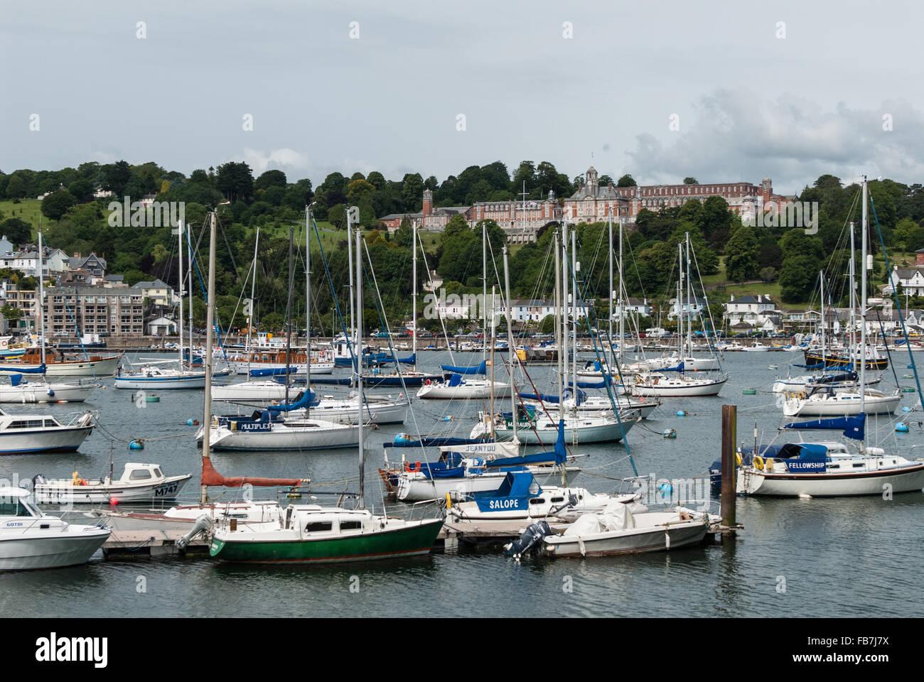 The River Dart with views towards Britannia Royal Naval College, (BRNC) Dartmouth, Devon, England. UK. Stock Photo