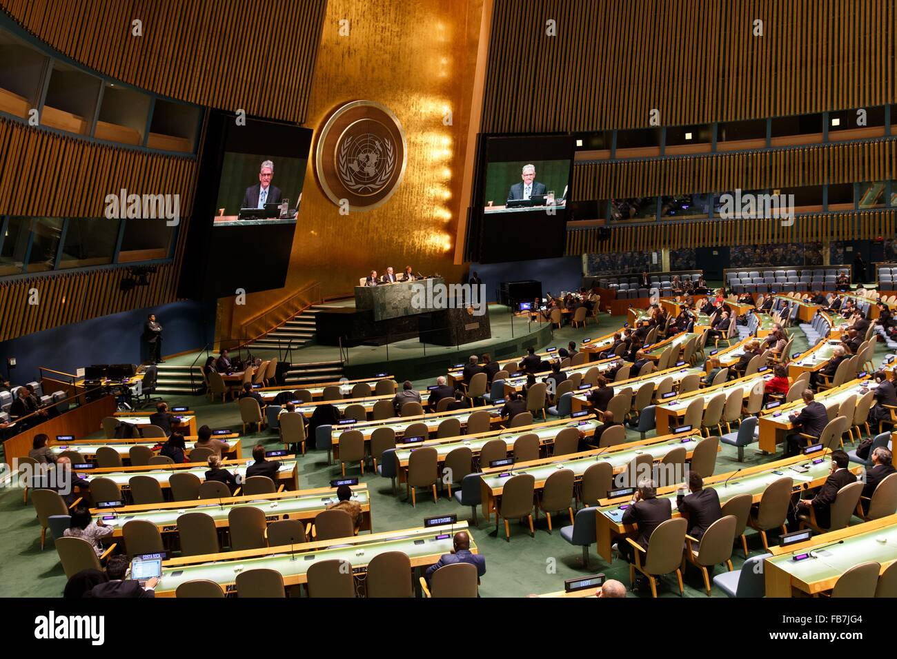 (160111) -- UNITED NATIONS, Jan. 11, 2016 (Xinhua) -- The United Nations holds a meeting at its headquarters in - Stock Image
