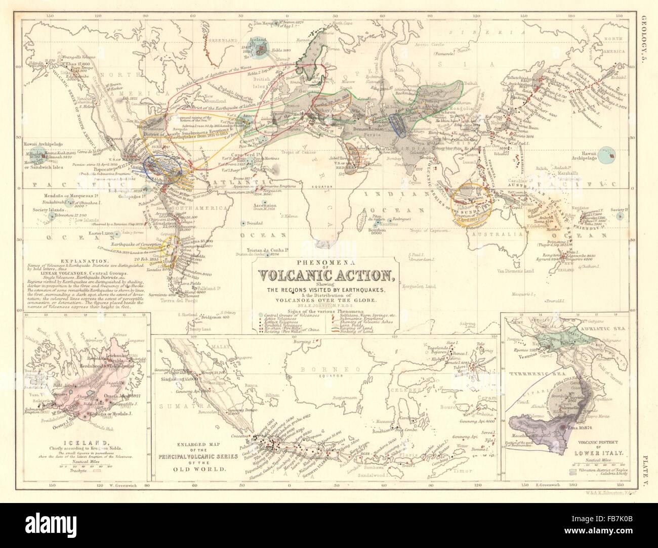 World volcanoesvolcanic action earthquakesiceland indonesia world volcanoesvolcanic action earthquakesiceland indonesia italy 1850 map gumiabroncs Gallery