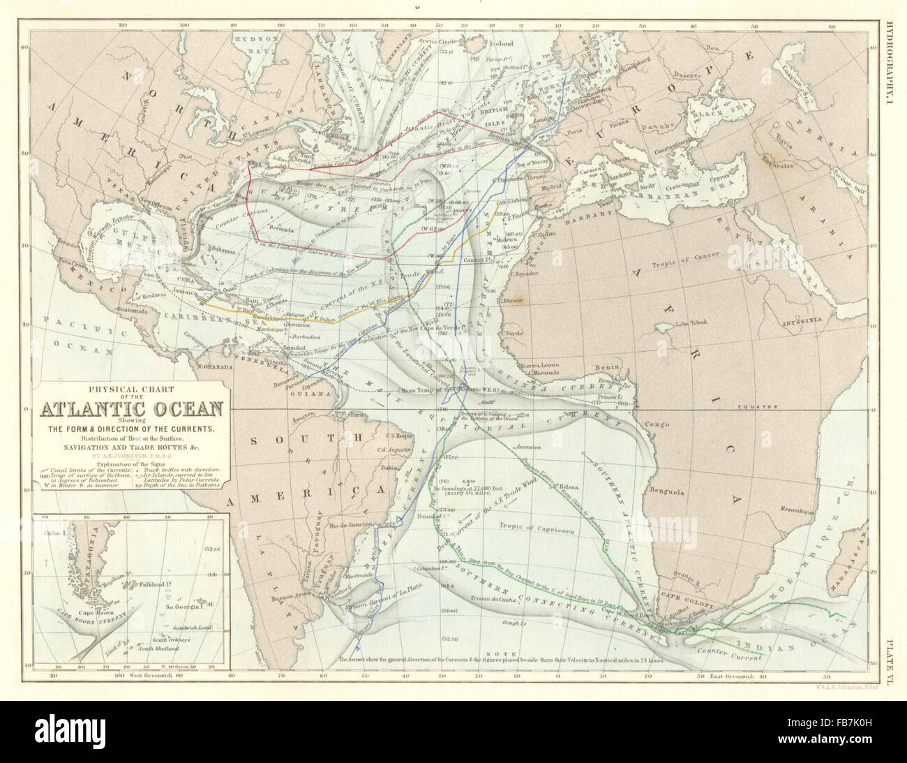 ATLANTIC OCEAN Physical chart Currents Temperature Trade routes