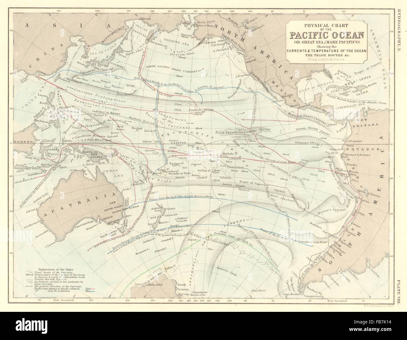 PACIFIC OCEAN: Physical chart. Currents, temperature & trade ...