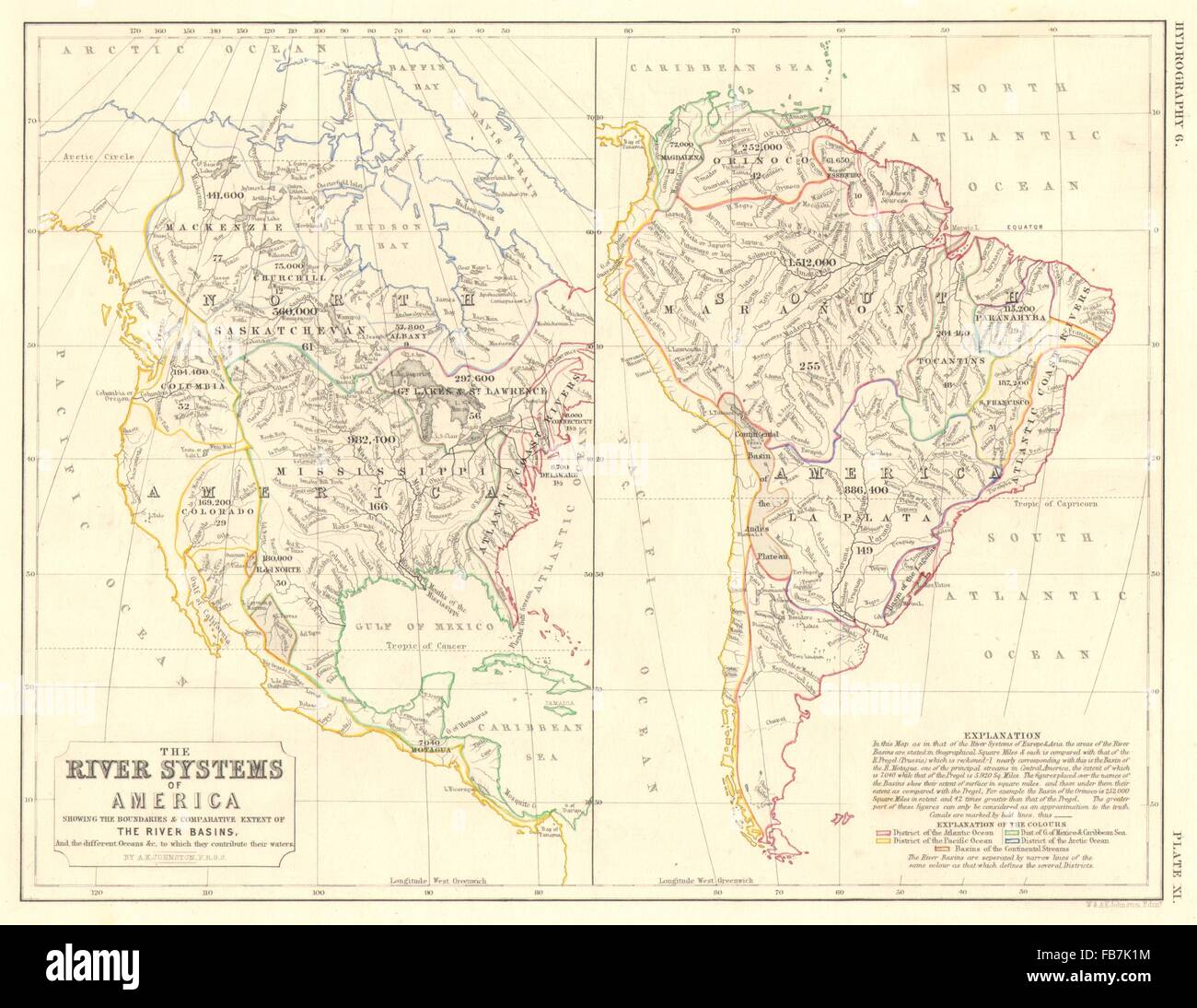 AMERICAS:North & South America river systems. Drainage Stock Photo ...