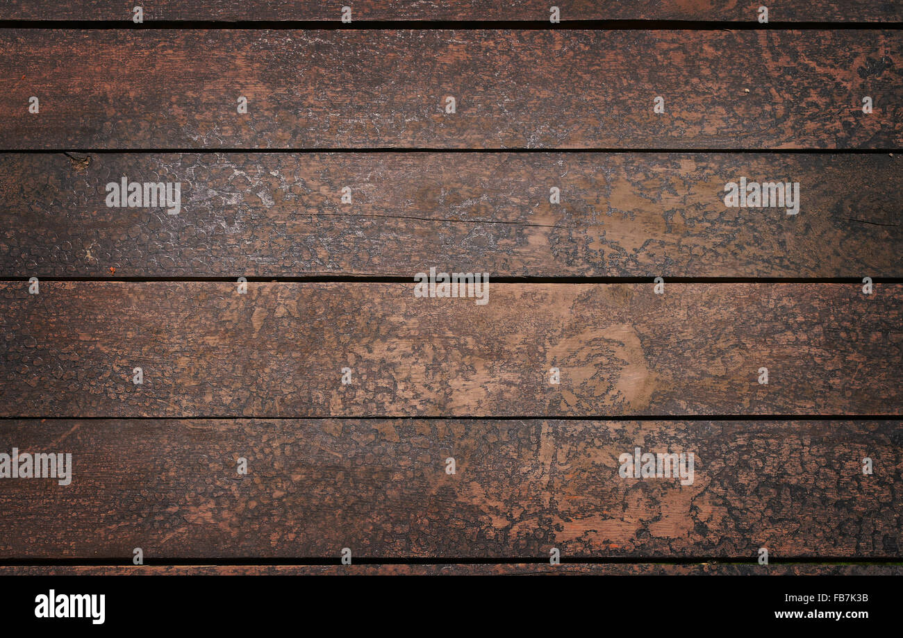 Old vintage rustic aged antique wooden sepia panel with horizontal gaps, planks and chinks Stock Photo