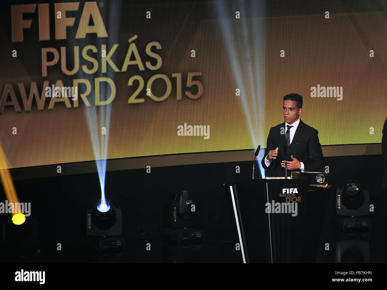 Zurich, Switzerland. 11th Jan, 2016. The Winner for the 2015 Puskas Award, WENDELL LIRA (Brazil) poses with the Stock Photo