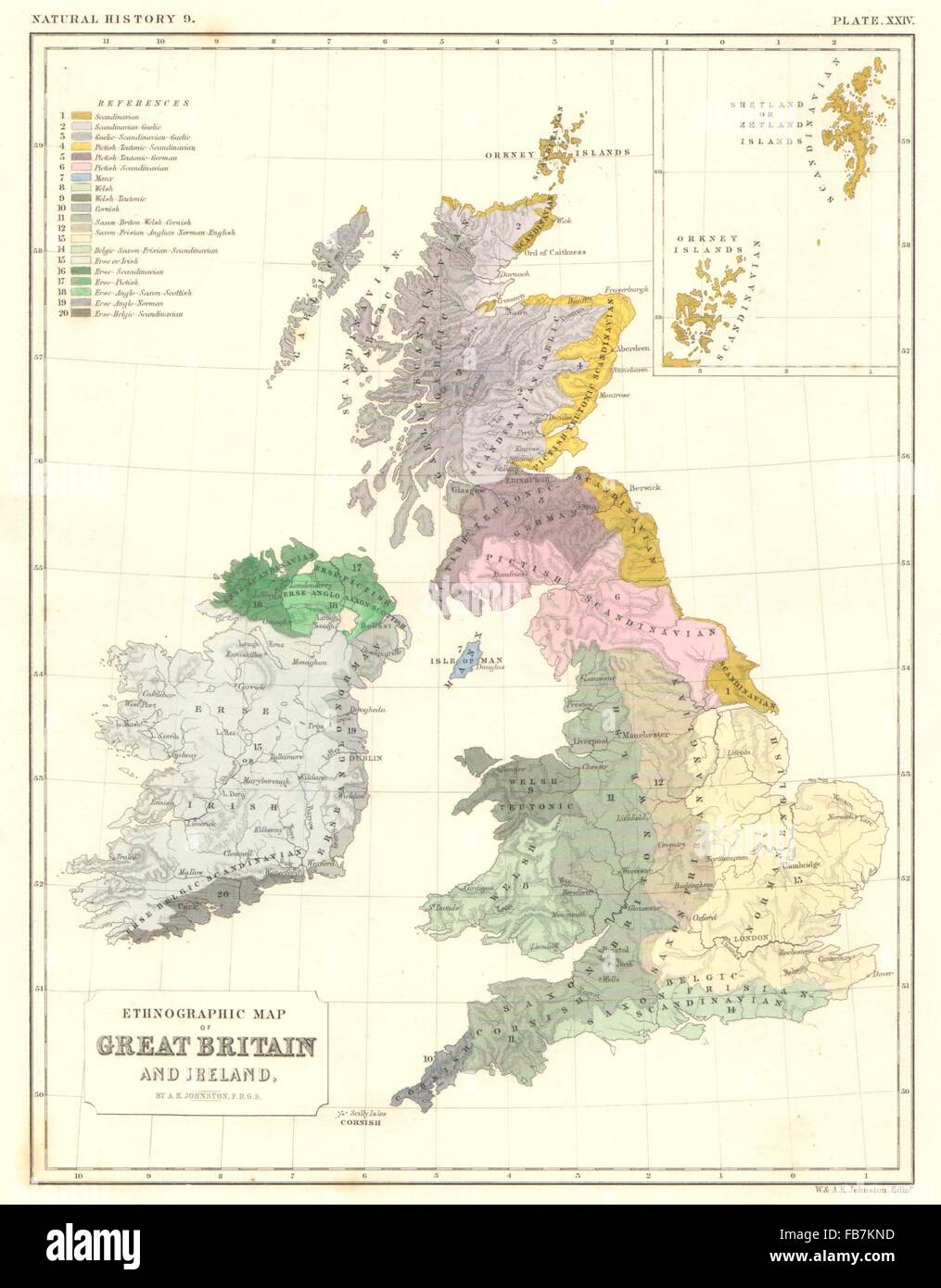 Britain And Ireland Map.Uk Ethnographic Map Of Great Britain And Ireland 1850 Stock Photo