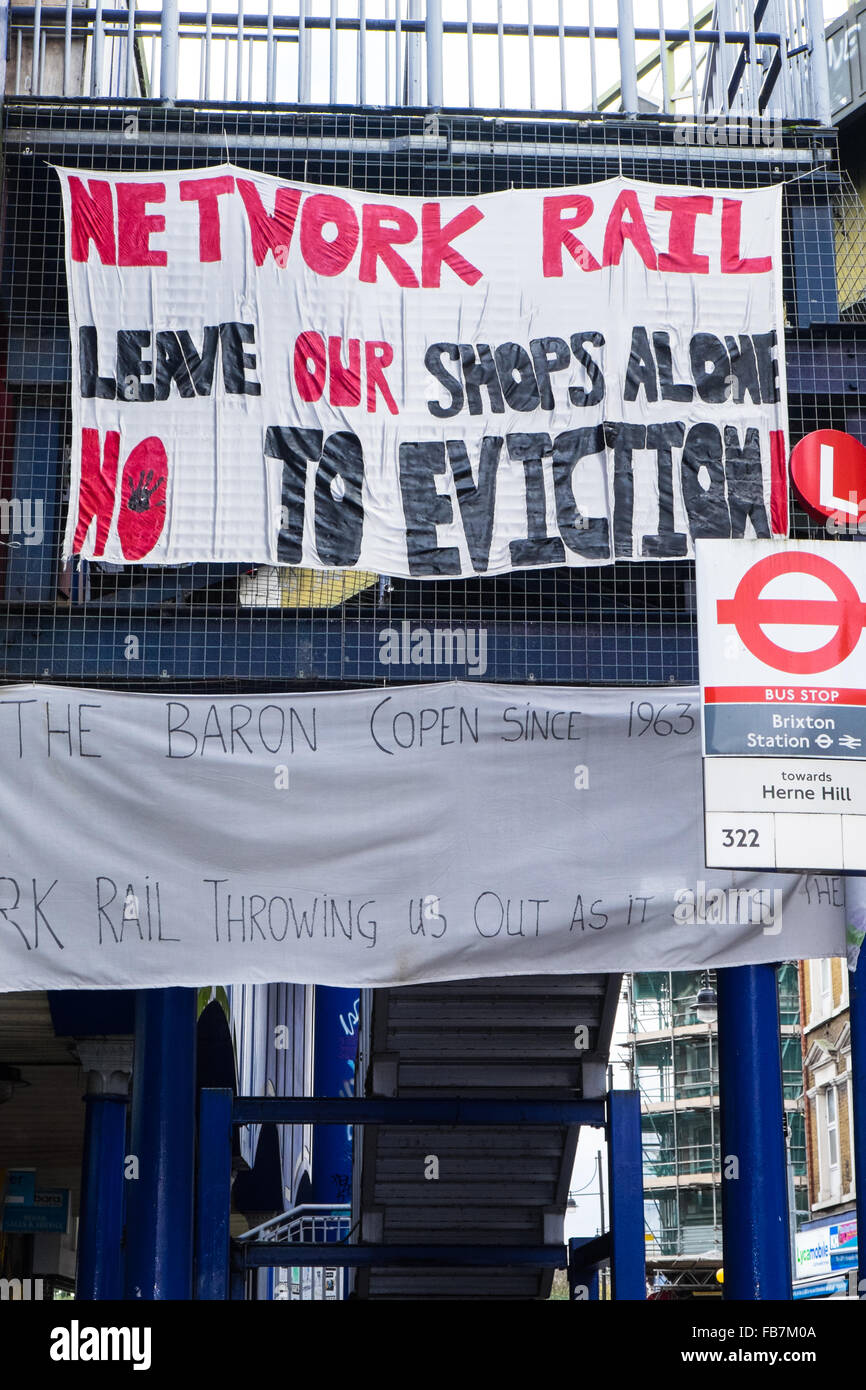 Local campaigners protest against Network Rail to save local businesses. - Stock Image