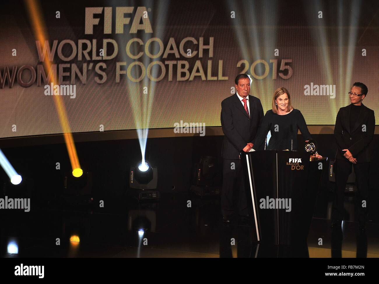 Zurich, Switzerland. 11th Jan, 2016. JILL ELLIS (USA) poses with the trophy of 2015 FIFA World Coach of the Year Stock Photo
