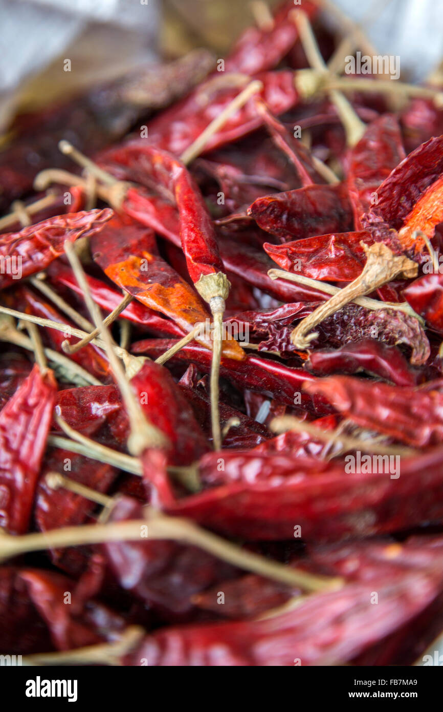 Dry red pepper on market Stock Photo