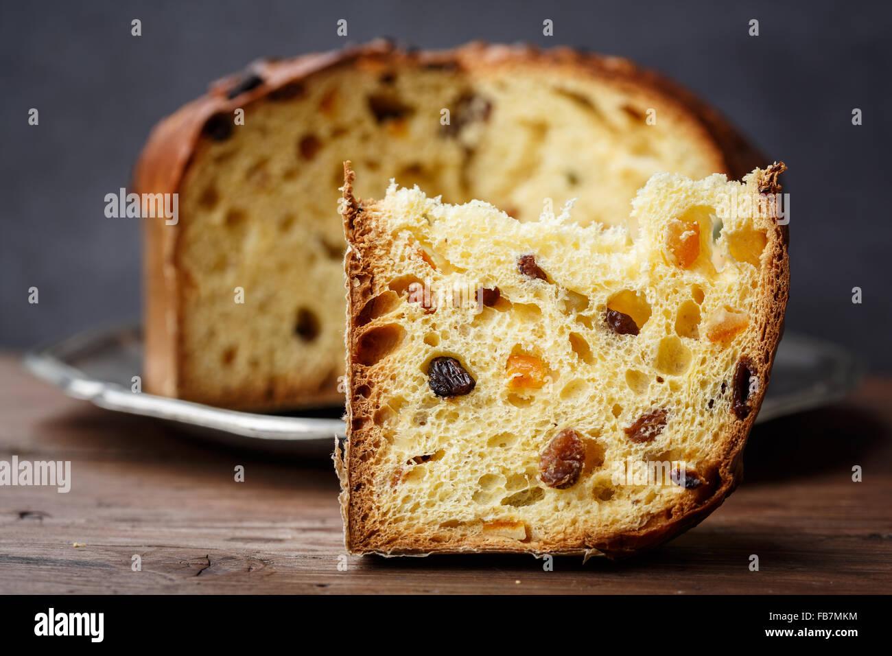 Panettone (Italian Christmas cake), sliced - Stock Image