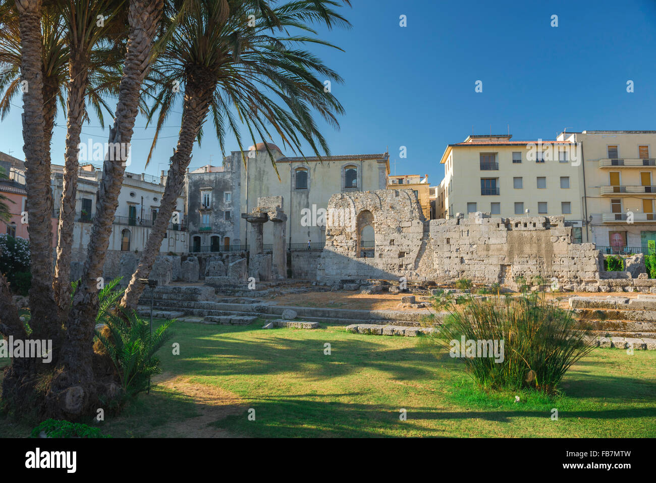 Syracuse Sicily Greek ruins, the remains of the ancient Greek temple of Apollo in the centre of Ortigia Island, - Stock Image