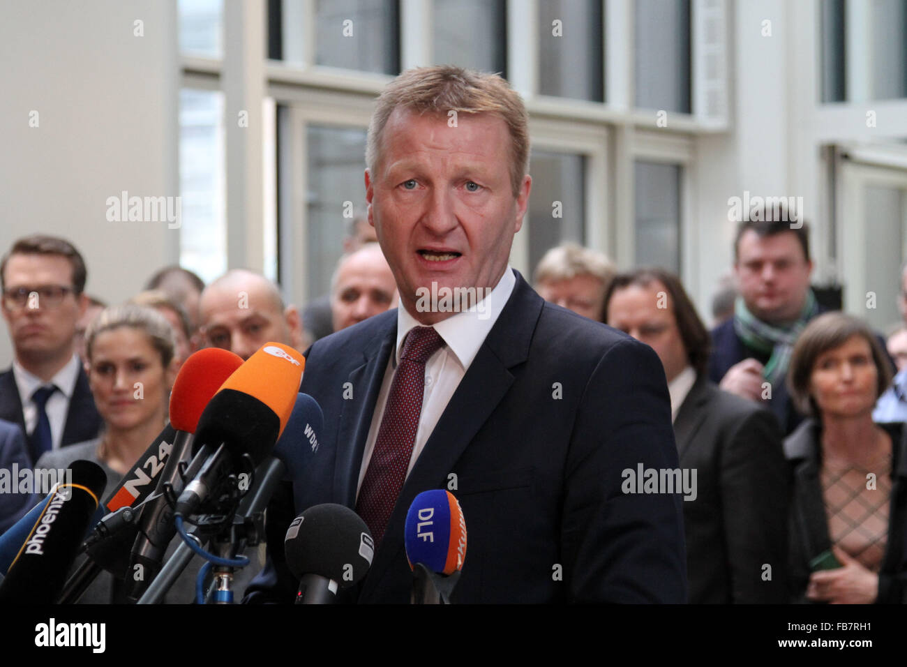 Dusseldorf, Germany. 11th Jan, 2016. Ralf Jaeger, Interior Minister of the German state of North Rhine-Westphalia, - Stock Image