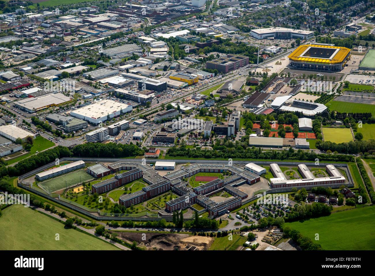 Aerial view, Bundesliga football Premiere League, correctional facility Aachen Tivoli football stadium in the background, - Stock Image