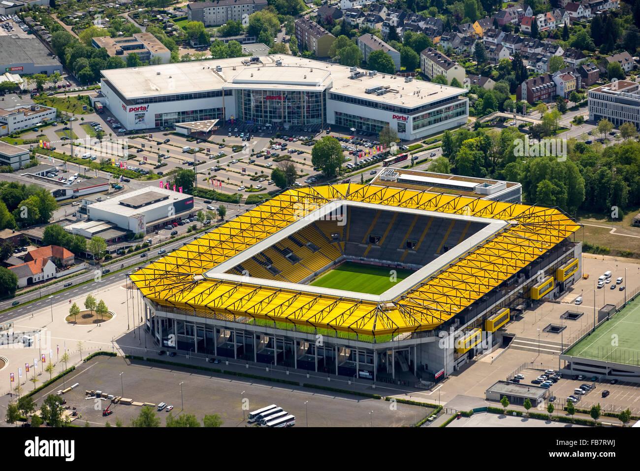 Aerial view, Bundesliga football Premiere League, Tivoli, football stadium of Alemannia Aachen, Aachen, Meuse-Rhine - Stock Image