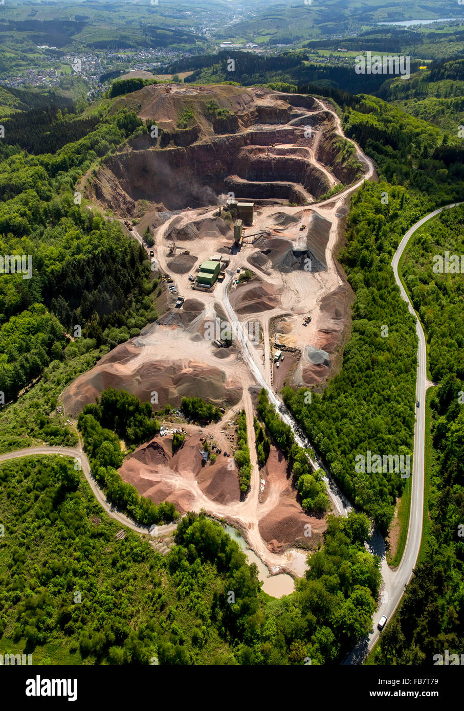 Aerial view, quarry, landscape consumption, limestone mining in the northern Sauerland, quarry operations Ebel, - Stock Image