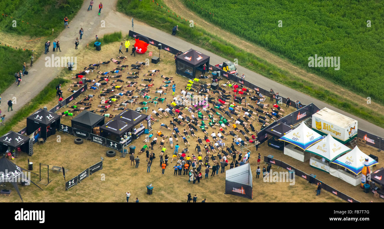 Aerial view, Extreme Sports, Warming Up, warm-up, Tough Mudder - the ultimate mudslinging in Sauerland, near Castle - Stock Image