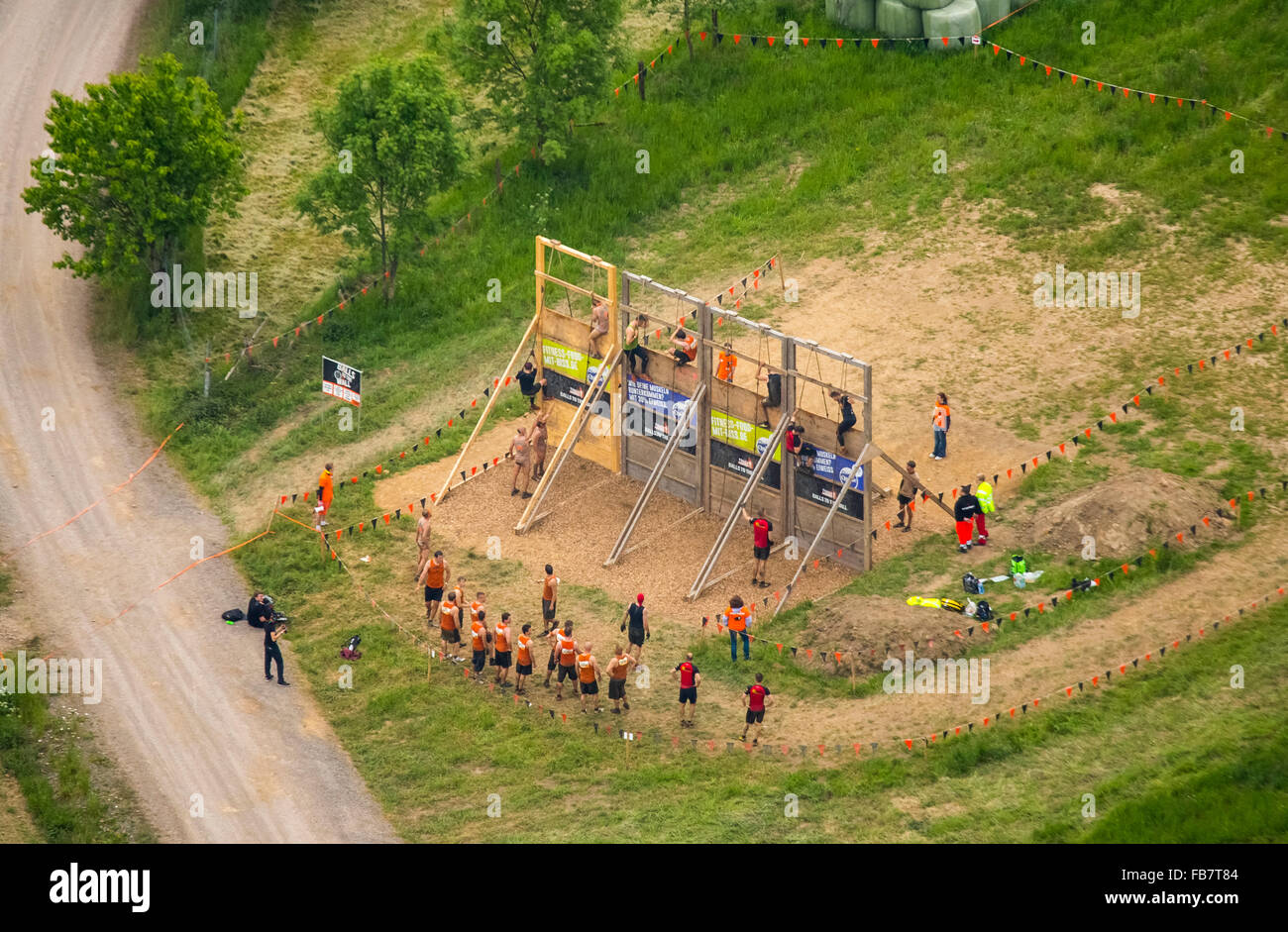 Aerial view, Extreme Sports, Climbing, Tough Mudder - the ultimate mudslinging in Sauerland, near Castle Herdringen, - Stock Image