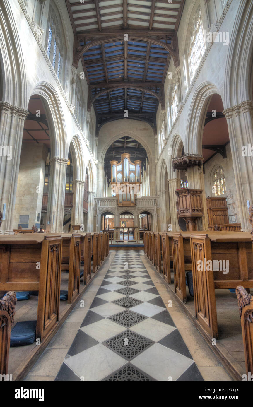 St Mary's Church, Oxford.  Interior of church - Stock Image