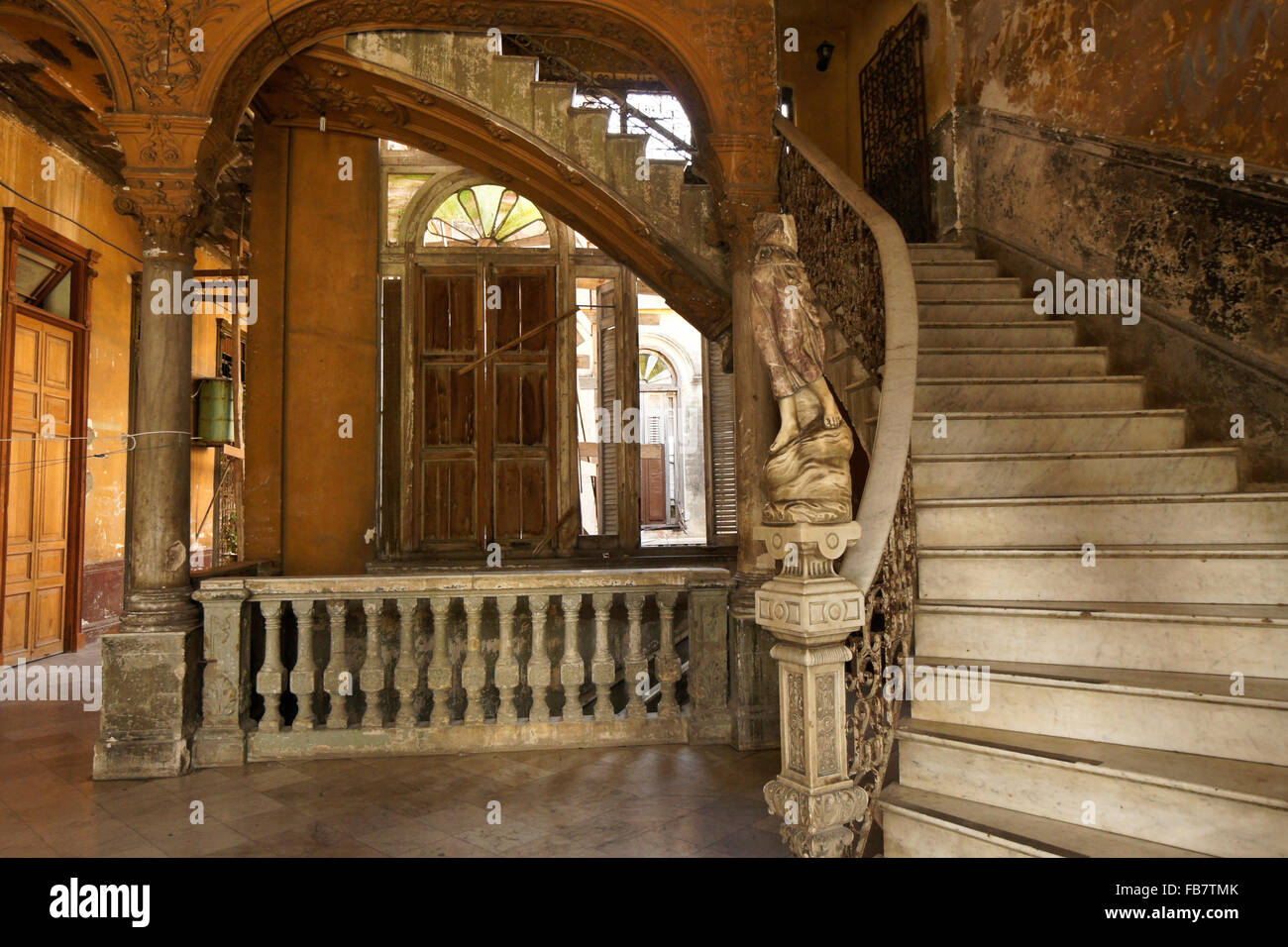 Marble staircase and statue in La Mansion Camaguey (La Guarida building), Havana, Cuba - Stock Image