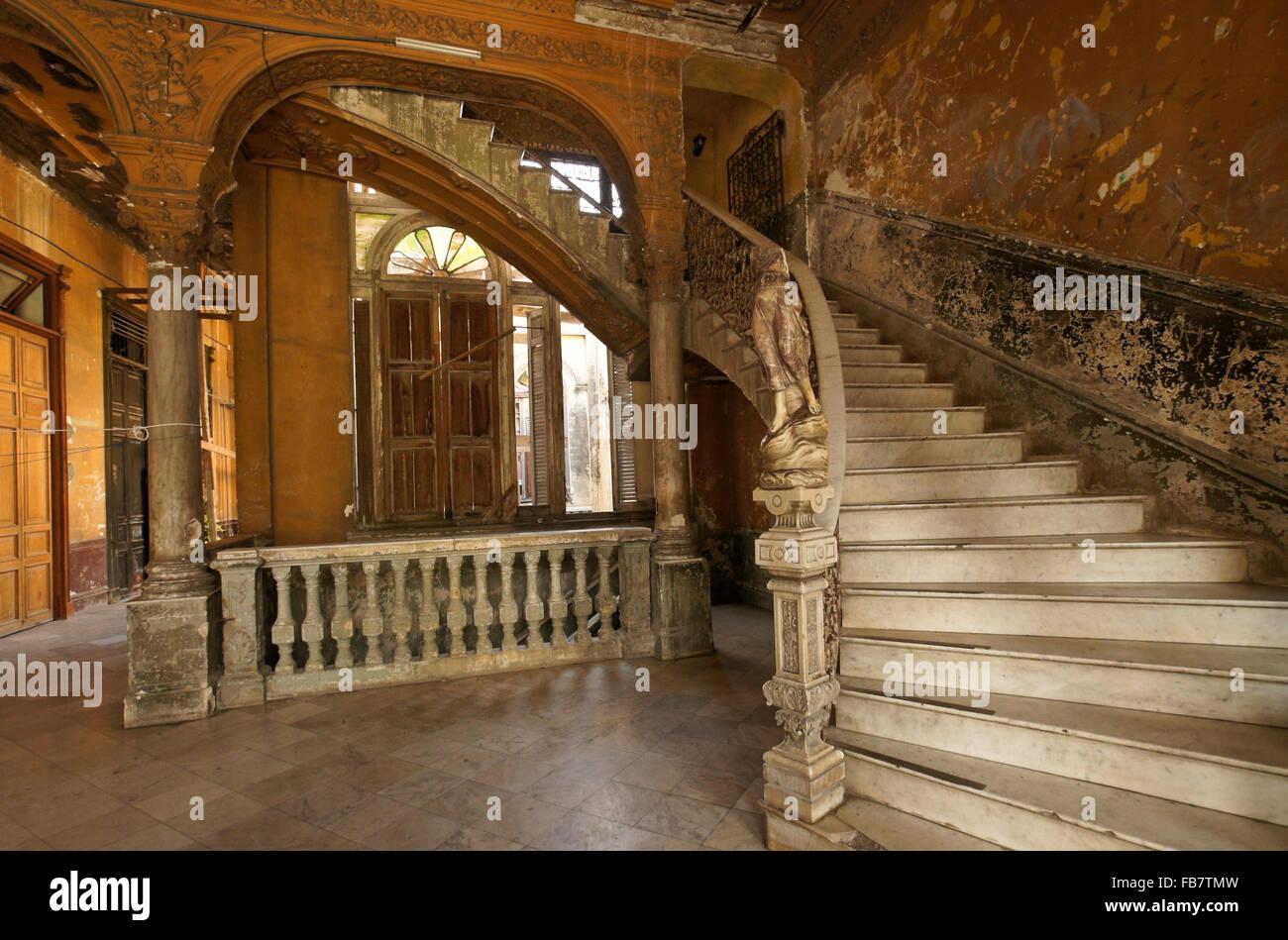 Marble staircase and statue in La Mansion Camaguey (La Guarida building), Havana, Cuba Stock Photo
