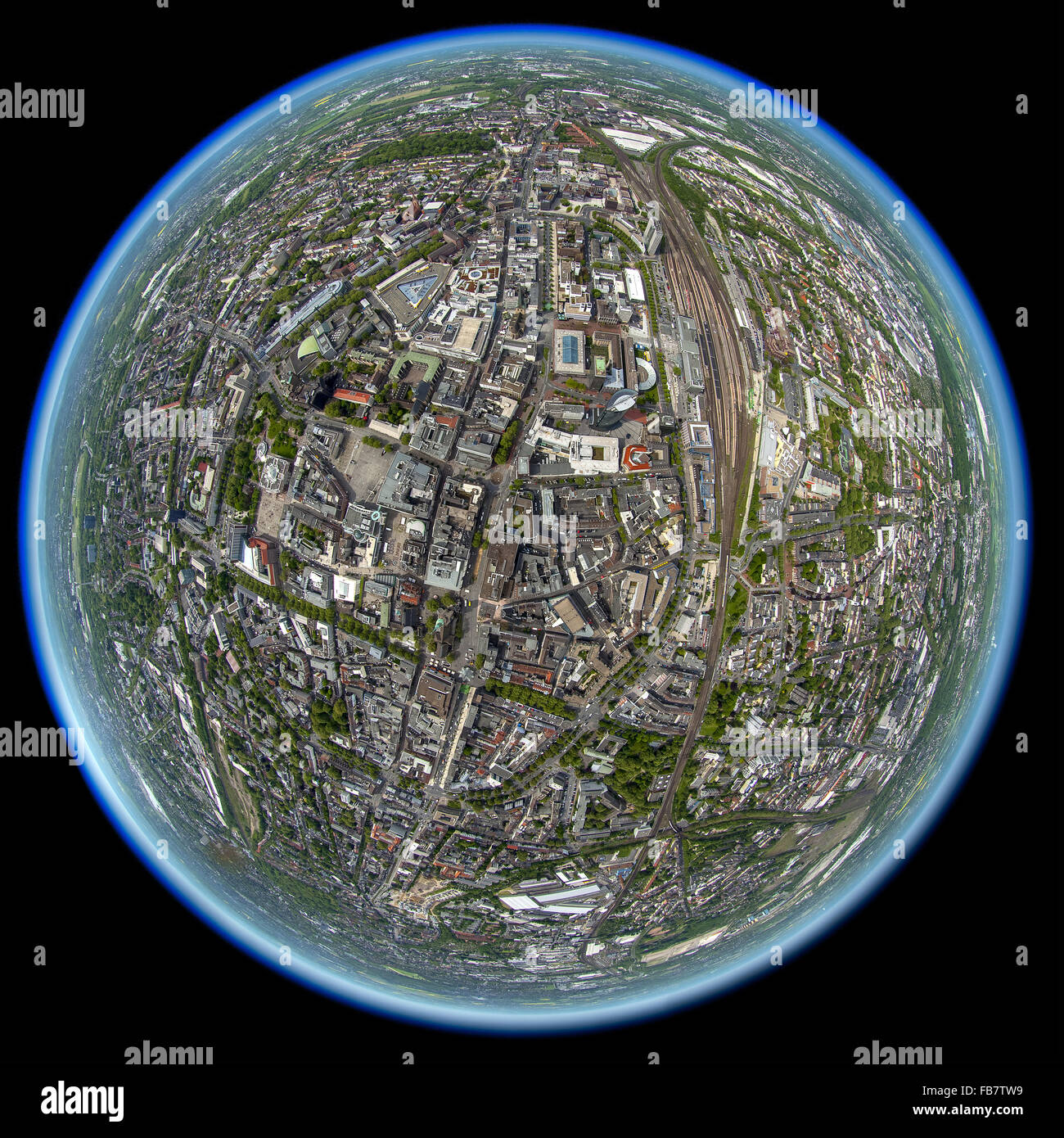 Aerial view, the center of Dortmund photographed with a fisheye lens, fisheye lens, panoramic, Dortmund, Ruhr area, - Stock Image