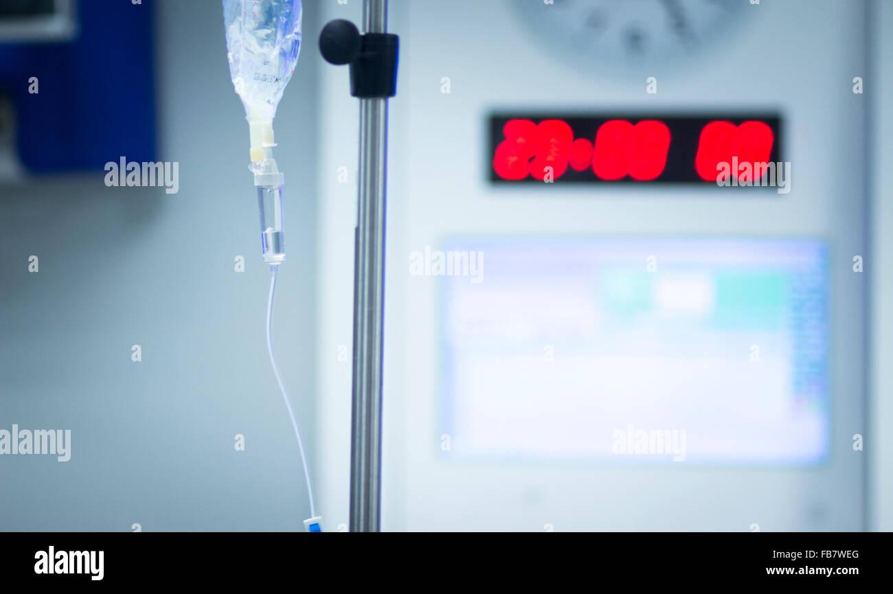 Hospital surgery emergency operating room liquid drip photo. - Stock Image