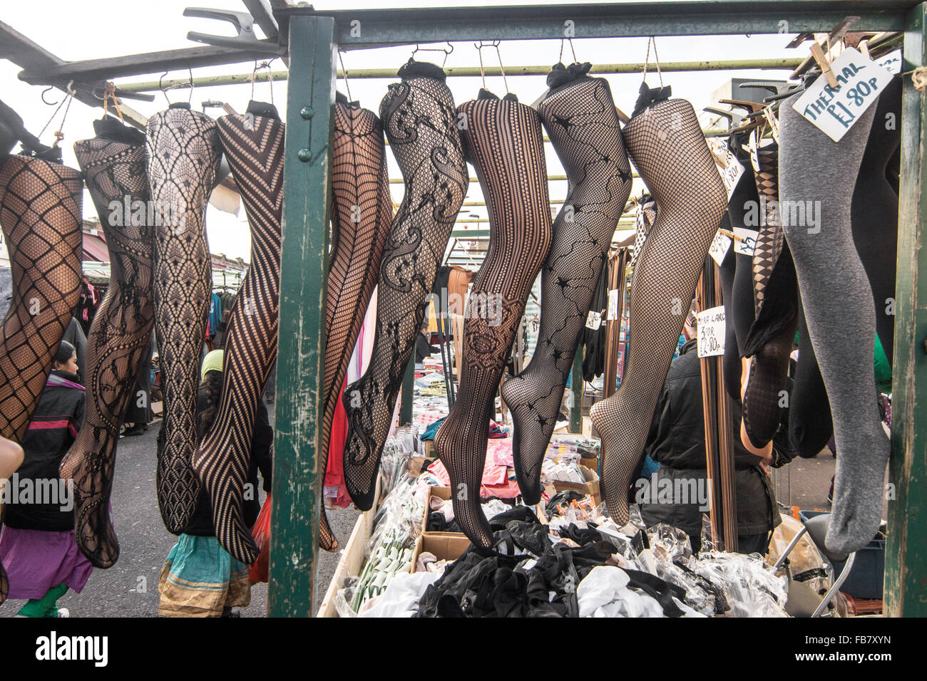 women's tights    Ridley Road Market,  Dalston - Stock Image
