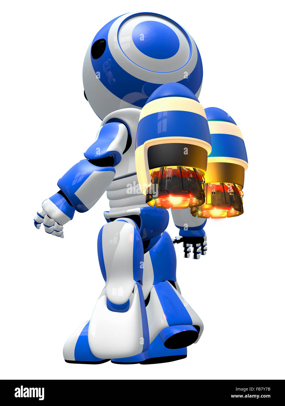 Robot rocketeer with jetpack, ready to take off and fly to new discoveries. - Stock Image