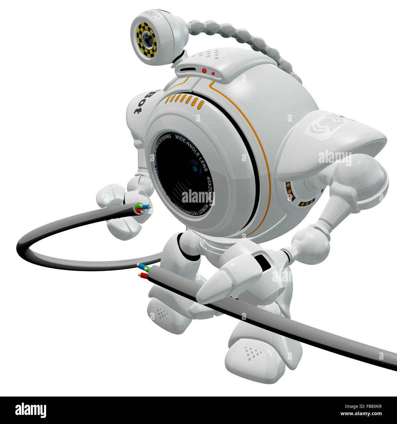 A robot web cam putting together (or taking apart) an electronics cable. meant to be a concept in trouble shooting - Stock Image
