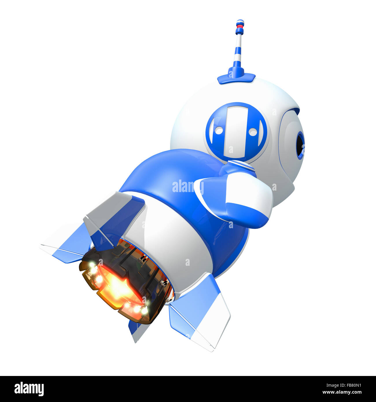 Little blue rocket bot blasting off toward new discoveries. - Stock Image