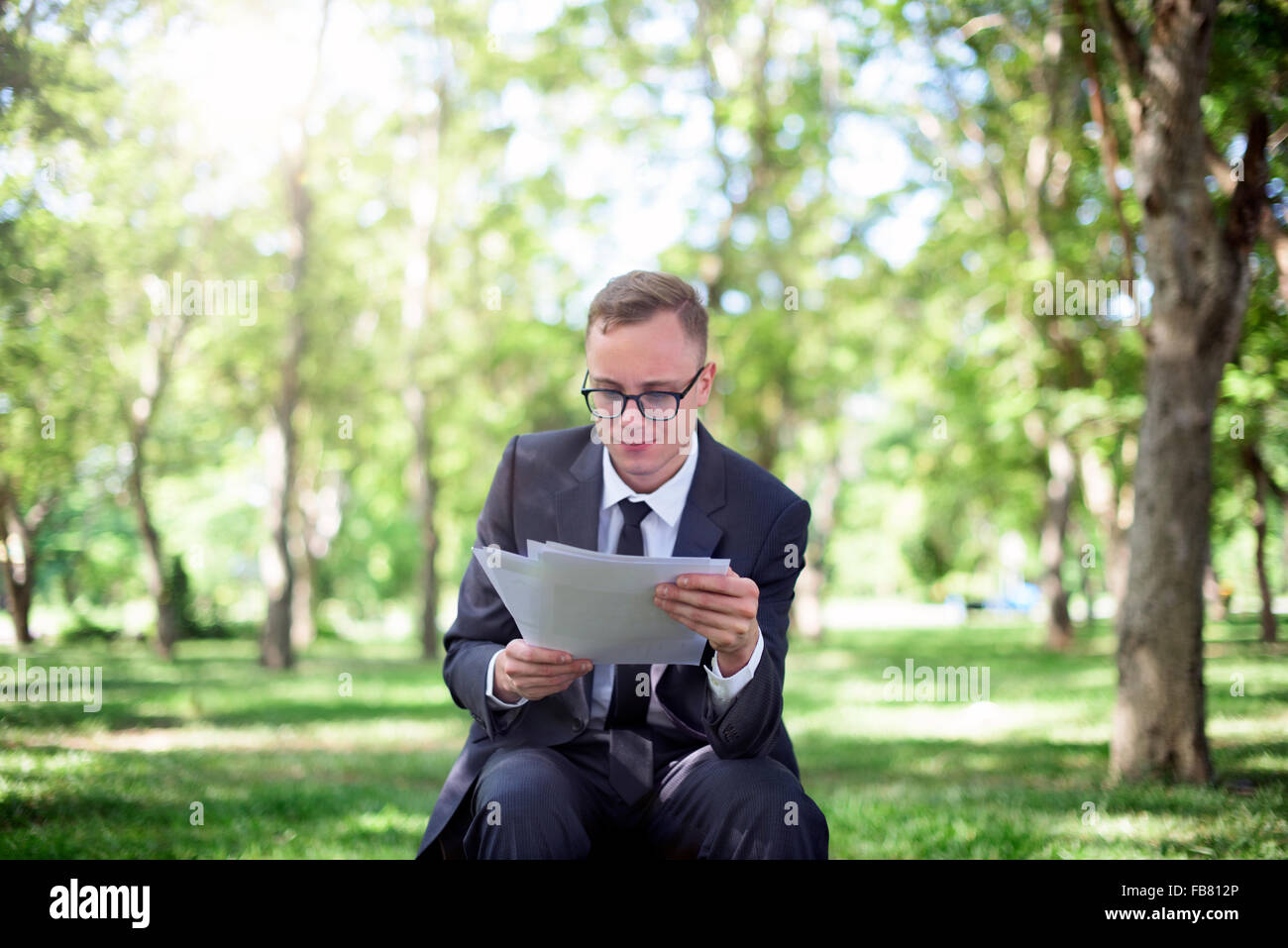 Businessman Stressful Sadness Failure Concept - Stock Image