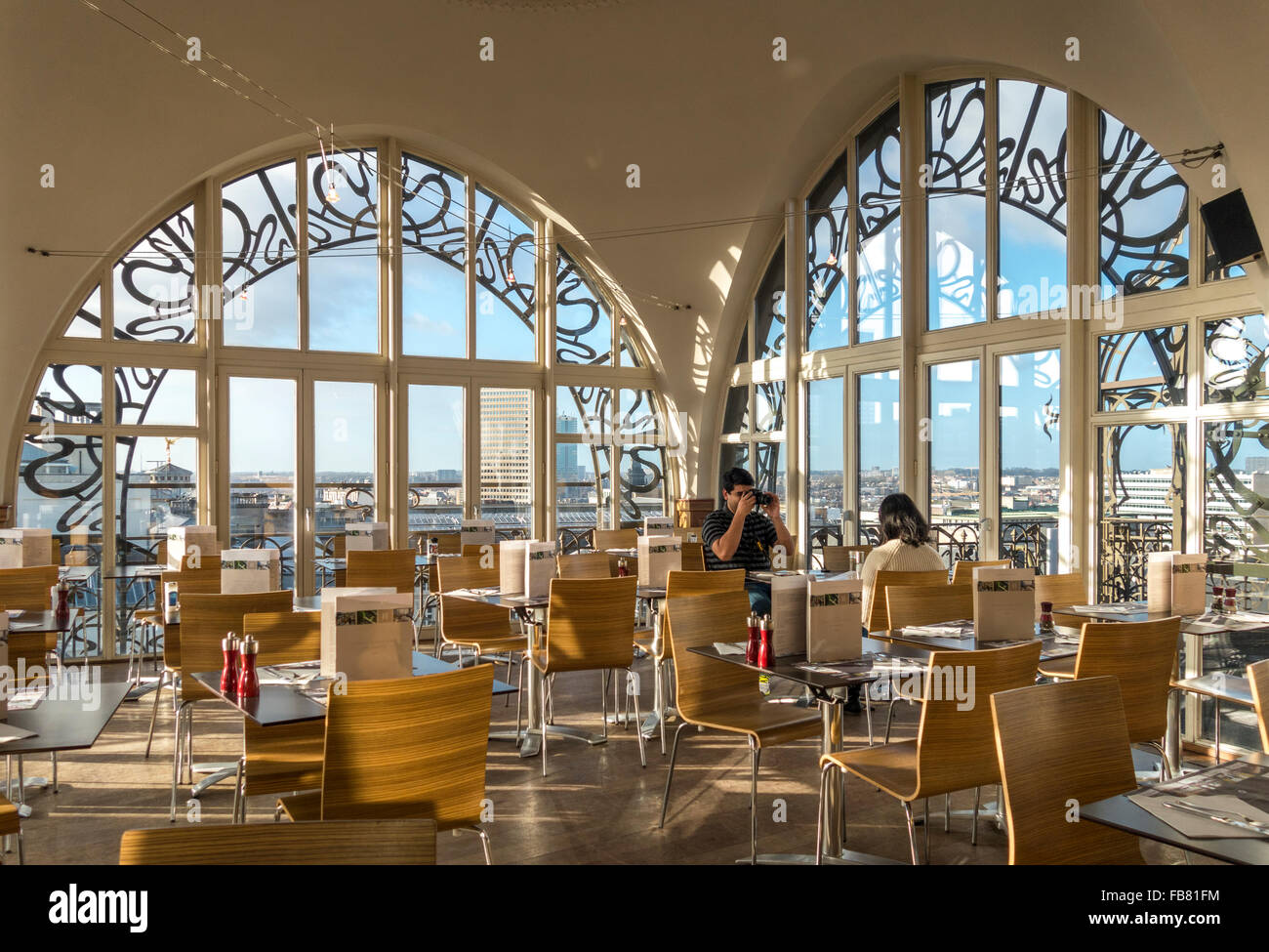 The restaurant of the Brussels Musical Instruments Museum MIM is famous for great views over the city and it's - Stock Image