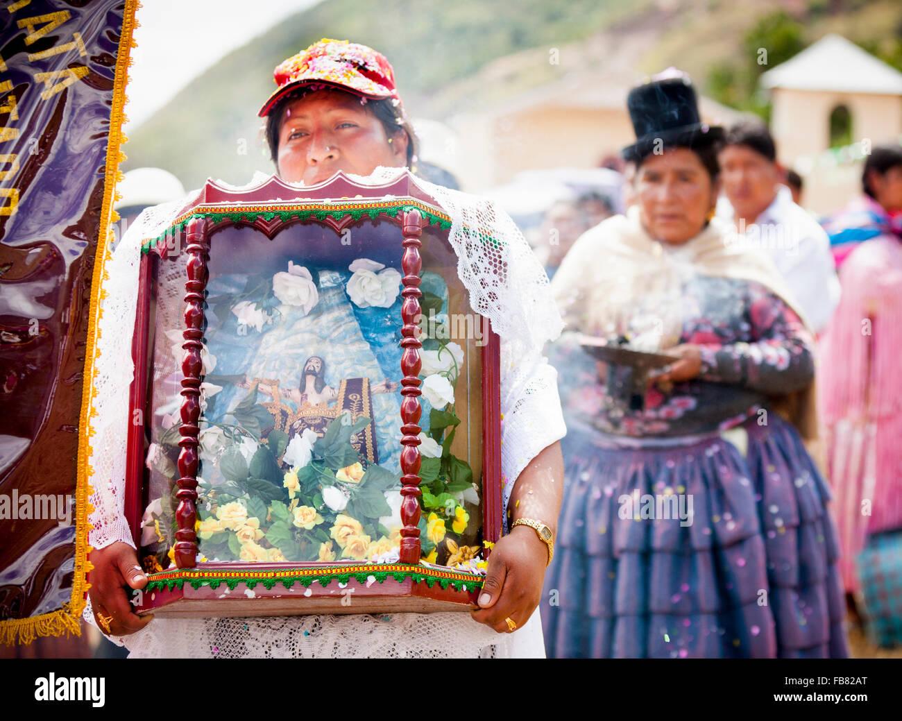 Religious parade during a fiesta in San Pedro, La Paz province, Bolivia. - Stock Image